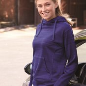 8662 Women's Striped Poly Fleece Hooded Sweatshirt